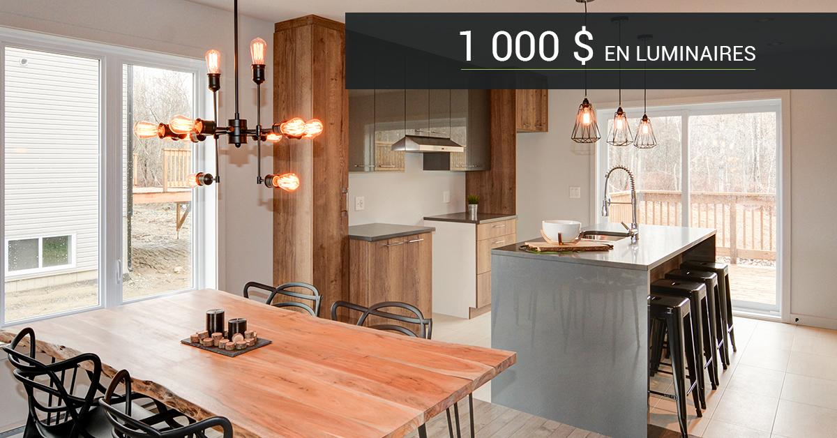 Promotion - Obtenez 1 000$ en luminaire à l'achat de votre maison